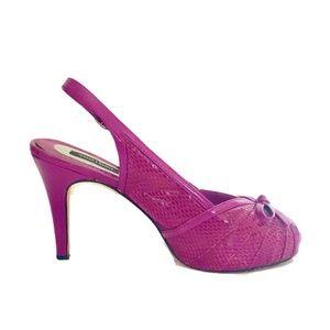 WHBM Pink / Purple Platform Slingback Bow Heel.